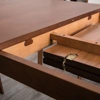 籬笆小院北歐風格全實木櫸木餐桌椅組合現代簡約可伸縮餐桌小戶型