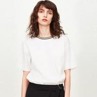夏季新款純棉舒適女士彩條羅紋領純色t恤女短袖女式t恤