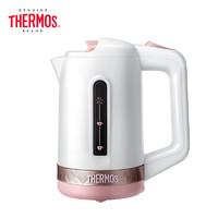膳魔師(THERMOS)電熱水壺304不銹鋼便攜式隨行杯0.6L保溫自動斷電燒水壺防干燒開水壺多國通用