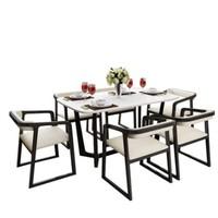 浪漫星 北歐小戶型 全實木大理石餐桌椅組合 客廳現代簡約長方形飯桌6人(1.4米餐桌 4椅)