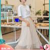 韓都衣舍2019夏裝新款女裝網紗蕾絲仙女裙高腰顯瘦半身裙MR8658瓔