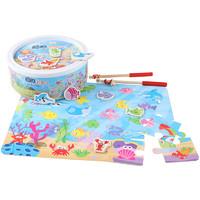 QZM 巧之木 嬰兒童釣魚玩具磁性套裝 數字釣魚(釣竿2個+26條魚+1個魚塘)