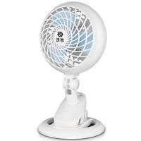 沃牧 電風扇 迷你小風扇 辦公臺式夾扇 宿舍家用床頭搖頭風扇 淺藍色延長線1.2米