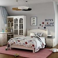 雙虎家私田園床1.2米1.5米青少年床小孩床臥室家具組合套裝13M5(單床 1500mm*2000mm)