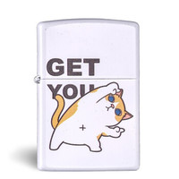 ZIPPO 之寶 防風打火機 啞漆GET貓狗   白色