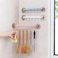 京東PLUS會員 : 無痕廚房浴室粘貼式塑料黏勾六個排鉤 *6件