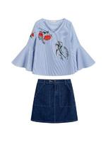 拉貝緹夏新款兩件套套裝女喇叭袖繡花襯衫時尚休閑高腰牛仔半身裙