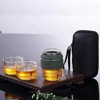 普智 玻璃旅行茶具 套裝便攜包 旅游戶外快客杯 隨身一壺二杯功夫茶藝杯飄逸杯泡茶壺