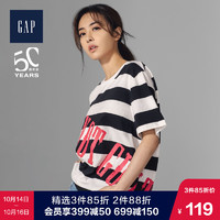 蔡依林明星同款Gap男女裝T恤529625 2019新款情侶裝純棉條紋上衣 *3件