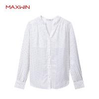 MAXWIN馬威女秋長袖寬松襯衫韓范長款襯衫