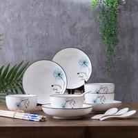 北歐植物花卉碗盤套裝 創意陶瓷飯碗16件套裝