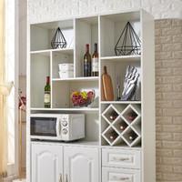 世紀運佳 吸塑門酒柜 現代簡約款多功能玄關隔斷客廳門廳屏風柜鞋柜 暖白實木多層