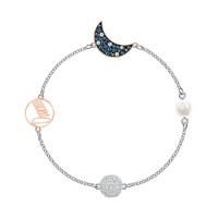 SWAROVSKI 施華洛世奇 藍色珍珠星月磁扣手鏈 5490934