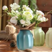 歐式彩色玻璃透明花瓶ins客廳擺件插花水培富貴竹百合干花飾品