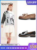 Teenmix/天美意商場同款流蘇樂福女時尚復古單鞋春秋新款6T301CQ8