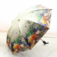 如航優品 文藝傘 太陽傘防曬防紫外線男女晴雨兩用三折疊黑膠加固創意藝術油畫雨傘
