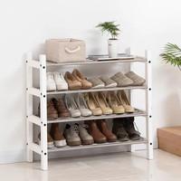 家逸 實木鞋架多層簡易鞋柜簡約現代鞋架子收納置物架創意鞋架(四層白色)