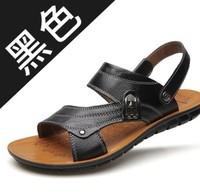 承發涼鞋男士夏季真皮沙灘鞋2018新款休閑爸爸中老年大碼兩用拖鞋