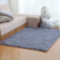 現代絲毛地毯客廳長方形茶幾沙發床邊毯臥室 天藍色長毛 60*120cm