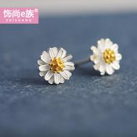 小雛菊小清新森系甜美可愛耳釘短款 韓版個性花朵時尚耳環女氣質簡約耳飾 金色花蕾