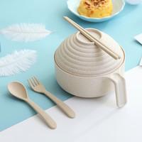 小麥秸稈帶蓋大碗日式泡面碗神器