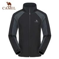 Camel 駱駝戶外軟殼衣 男款越野防風外套日常休閑保暖立領上衣