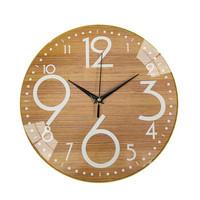 三合水木紋靜音掛鐘無框家用鐘表石英鐘表
