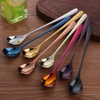 Buyer Star  304不銹鋼勺子長柄勺子咖啡攪拌勺甜品勺長把冰勺 彩色8支裝