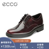 ECCO愛步秋冬商務青年正裝皮鞋男 系帶舒適英倫風德比鞋 紐卡斯610304 酒紅色61030401070 43