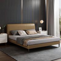 芝華仕愛蒙簡約意式臥室雙人床婚床主臥現代輕奢真皮床軟床C035床