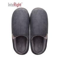 INTERIGHT  經典家居棉拖鞋 輕簡舒適防滑長絨保暖棉鞋 男款 灰色 44-45 IN9031