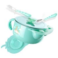 紐因貝 兒童餐具 寶寶防摔碗吸盤碗輔食碗勺套裝 嬰兒注水保溫碗三件套/綠色 *3件