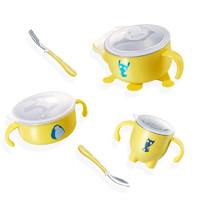 紐因貝兒童餐具 嬰兒注水保溫316不銹鋼碗勺套裝 寶寶吸盤輔食吃飯碗 五件套 *3件