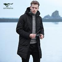七匹狼棉服 冬季男士戶外運動連帽中長款防寒加厚棉衣外套 *2件
