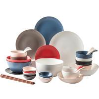 IJARL 億嘉北歐簡約風 家用陶瓷瓷器碗碟碗盤 餐具套裝碗碟套裝 錫蘭島 巴克系列 巴克42件套
