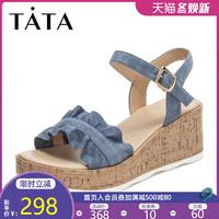 活動Tata/他她2019夏羊皮革荷葉邊一字帶坡跟女涼鞋GIF01BL9