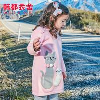 韓都衣舍童裝2019秋裝新款女寶寶韓版時尚套頭連衣裙HJ8885堇