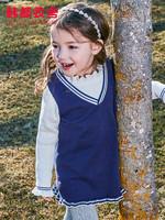 韓都衣舍童裝2019秋裝新款女寶寶韓版兒童純棉時尚套頭套裝堇