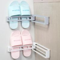 米良品 創意可旋轉免打孔無痕鞋架 2個裝