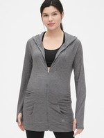 Gap 蓋璞 孕婦裝 GapFit系列Breathe系列透氣拉鏈連帽基本款運動衛衣