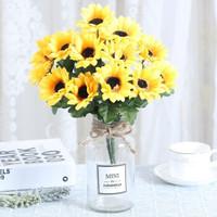 ins北歐小清新假花仿真花客廳擺設玻璃花瓶裝飾品餐桌絹花藝擺件 大MINI+2束七頭太陽花