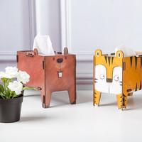 德國原產Werkhaus木質手工DIY創意組裝動物紙巾餐巾盒海貍 棕色