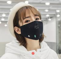 舒美佳 冬季防塵黑色印花透氣口罩 *2件