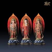 銅師傅 《西方三圣(彩繪版)》 全銅擺件