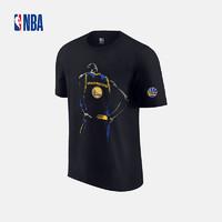 NBA 金州勇士隊 背影系列 黑色運動休閑針織內搭短袖T恤