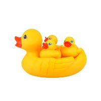Playgro 派高乐 婴儿宝宝洗澡戏水玩具 沙滩 小黄鸭子4只装 喷水搭配洗澡桶浴盆  6个月以上