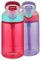 Contigo 康迪克 AUTOSPOUT 带吸管弹盖儿童水杯,14oz/414毫升,樱花粉/紫藤色,2件装