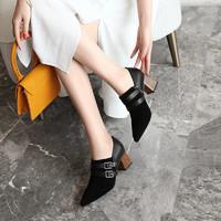 kumikiwa卡米19秋季新款羊反+牛皮尖头皮带扣粗跟深口女单鞋 36 黑色