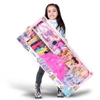 乐心多 芭比娃娃玩具套装大礼盒L1 4个娃娃 147件套 48cm礼盒