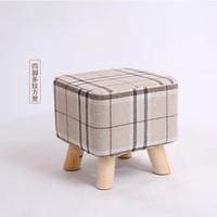 优涵  家用实木矮凳儿童圆凳茶几凳小板凳家用换鞋凳沙发凳子(条纹色方凳)
